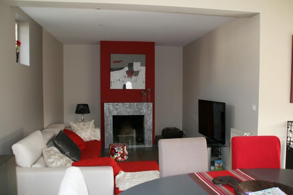 Dco Salon Gris Et Rouge