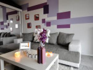 decoration salon gris et mauve