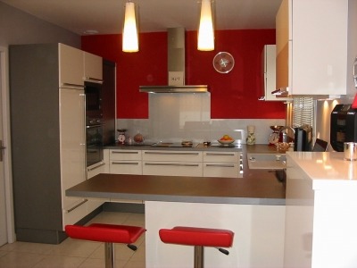 Exemple Cuisine Rouge Peinture Mur