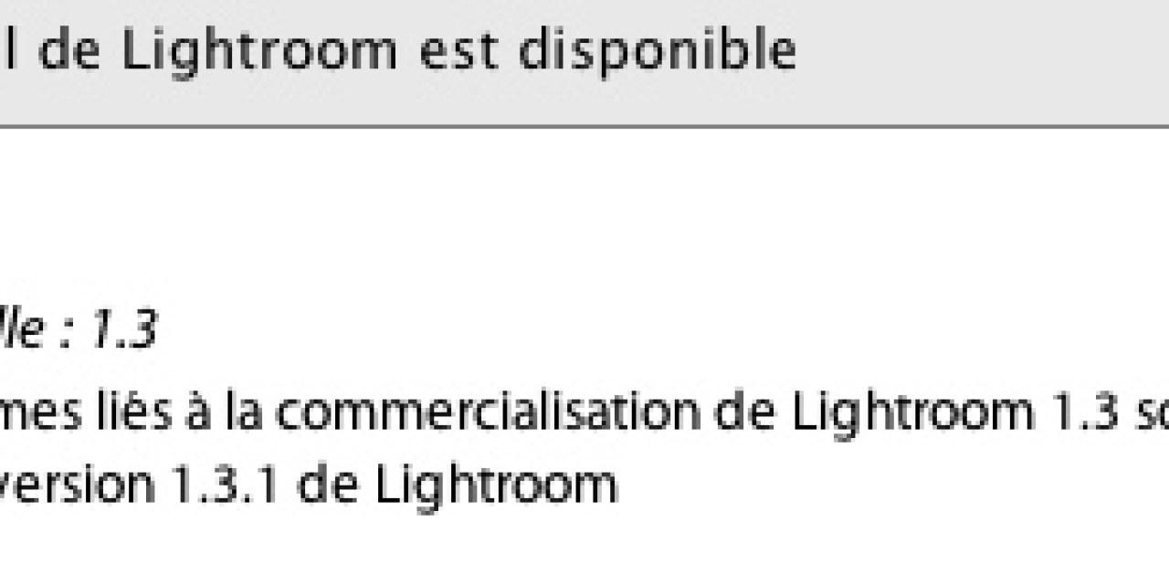 Mise à jour 1.3.1 de Lightroom