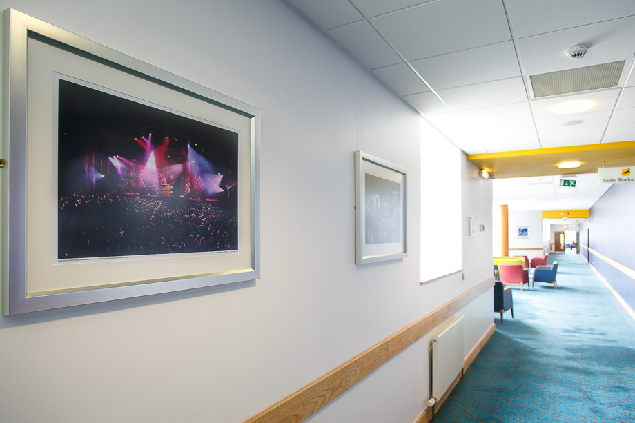 Framed photo of concert at Cheltenham Racecourse hanging in the Centaur