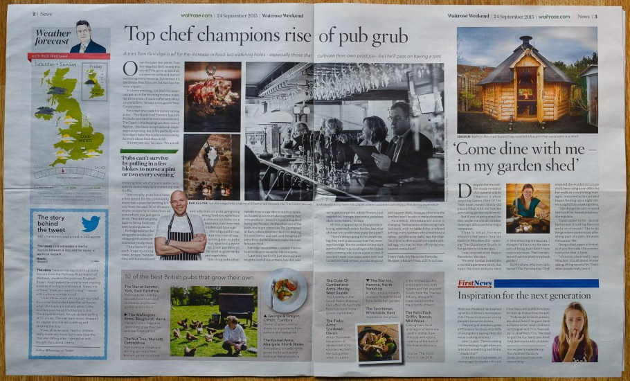 Waitrose weekend newspaper featuring PhotoGlow images