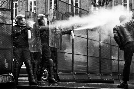 Police uses tear gas during a demonstration against Jean-Marie Le Pen in Toulouse