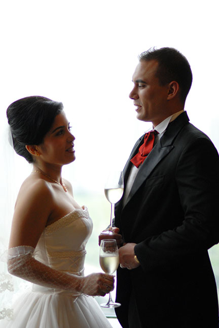 Bride and groom sweet chat Canada wedding photo