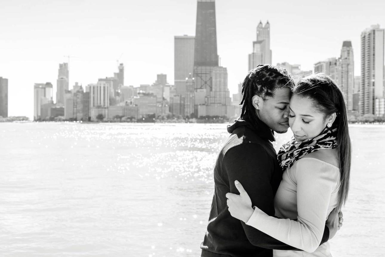 Engagement photo skyline background