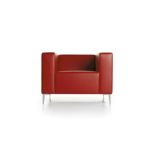 Red leather cube chair on white background - Furniture photography