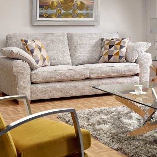 Contemporary lounge room set with Natural plain settee - Furniture photography