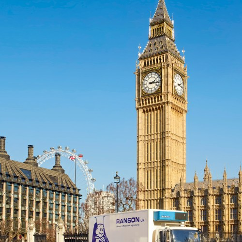 Ranson lorry in London, with Big Ben & London Eye - Exterior/Location photography