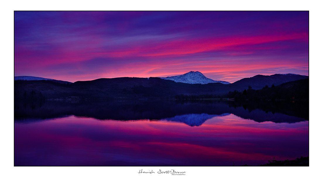 sunset over Ben Lomond from the banks of Loch ard © Hamish Scott-Brown