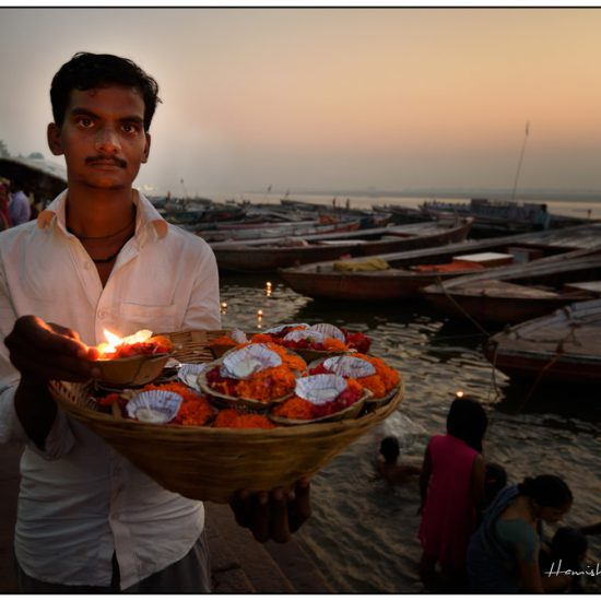 offerings and flowers at varanasi, river ganges