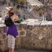 Workshopper Maureen in the ancient town of Matera