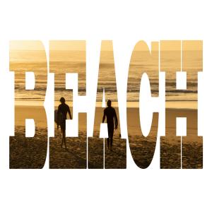 Beach - Text - Photo Canvas - Square - Surfers - Byron Bay
