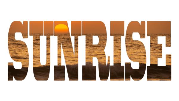 Sunrise - Text - Photo Canvas - Panoramic - Surfers Paradise Sunrise visible through the word sunrise