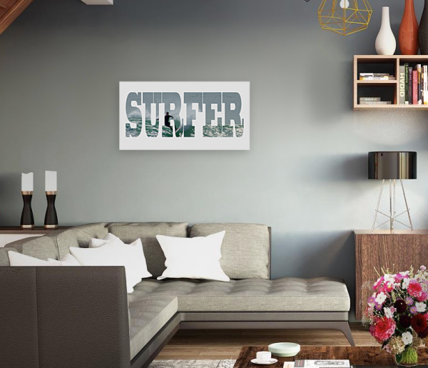 Surfer - Text- Photo Canvas - Panoramic -Port Macquarie - in modern lounge