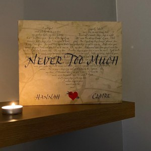 Our Song Lyrics Canvas - Never Too much - Dave Mutton Photography wide angle shot standing on a shelf with a candle