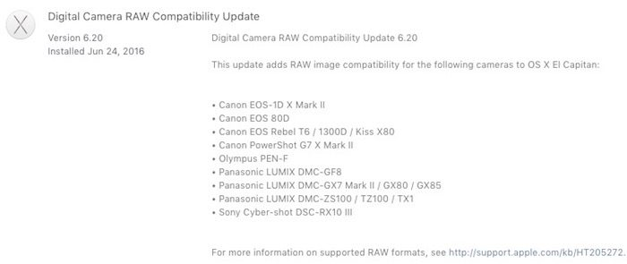 Apple Digital Camera RAW Update 6.20 Now Available