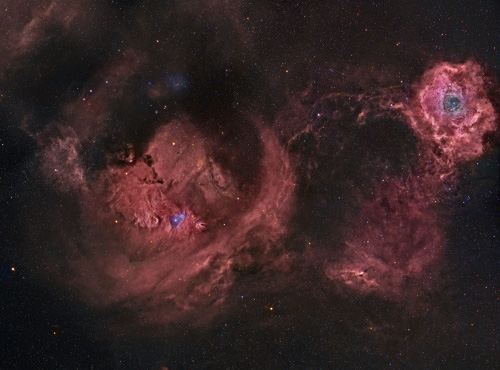 Widefield Rosette and Cone nebulas