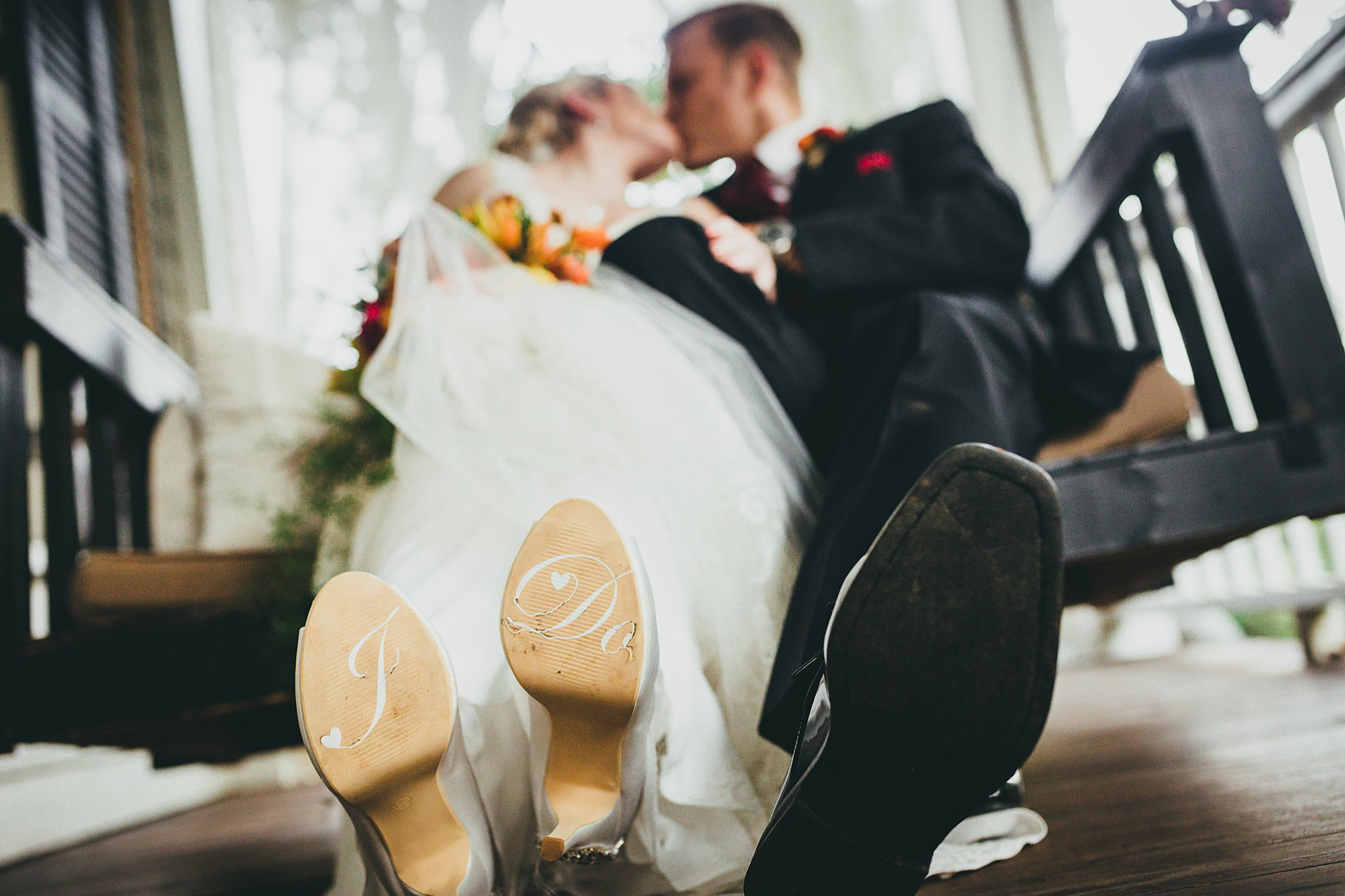 Atlanta Wedding Photographers I DO Shoes Bride and Groom on a Swing