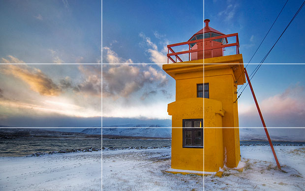 Lighthouse with rule of thirds grid