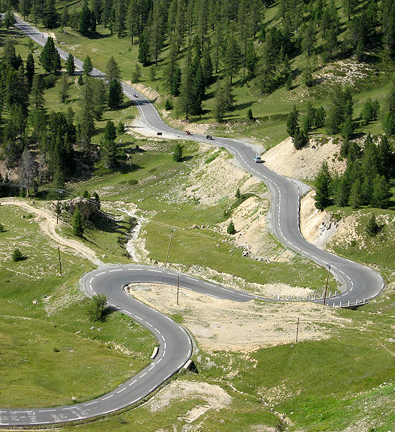 Road winding through mountains