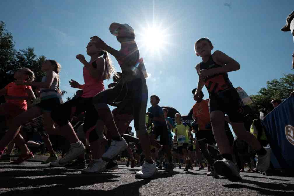 Young children takes part in the Discovery Duathlon in Sandton. Picture: Shayne Robinson