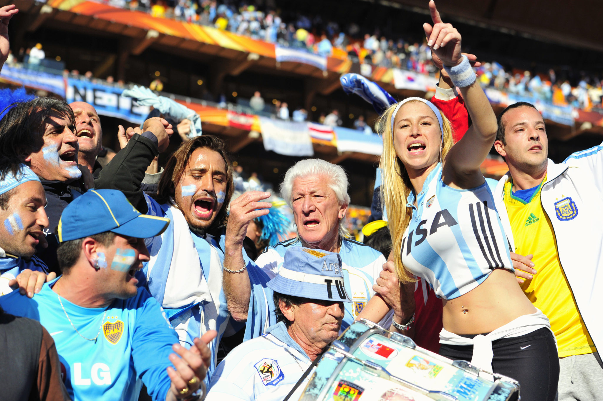 17 June 2010, Argentine clebrate after the 2010 Fifa World Cup game at the Soccer City stadium in Johannesburg. Argentina won the game 4-0. Picture: Shayne Robinson