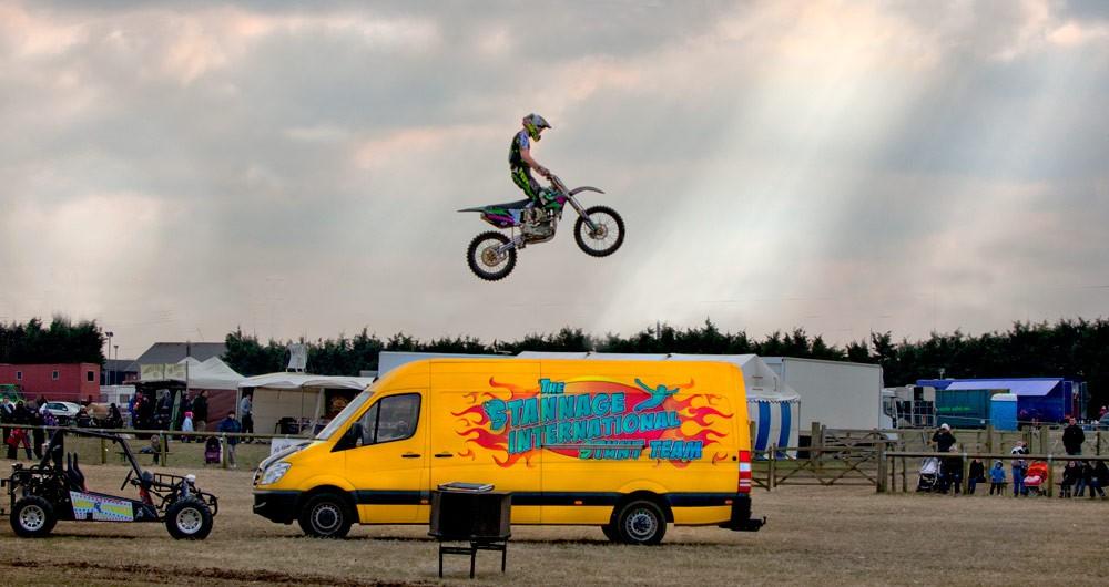Motor bike jumping van