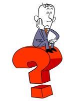 大きな疑問とビジネスマン ビジネスマン