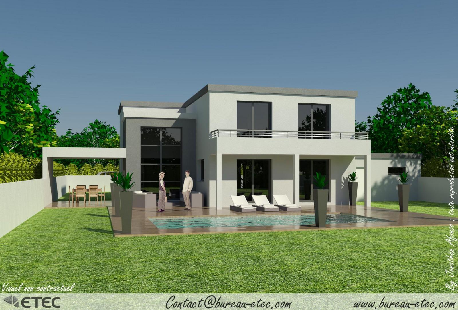Modele maison contemporaine toit plat maison moderne for Modele maison toit plat