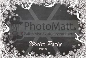 Thème photobooth borne photo selfie photomatt hiver noël flocon winter party blanc
