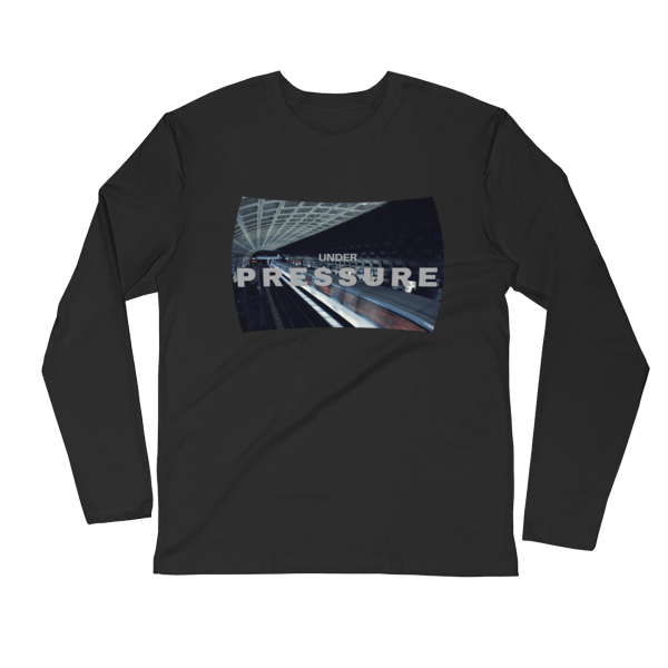 Under Pressure design with photo of Washington, DC metro by Carla Durham; inspired by David Bowie and Queen song - black unisex long sleeve t-shirt