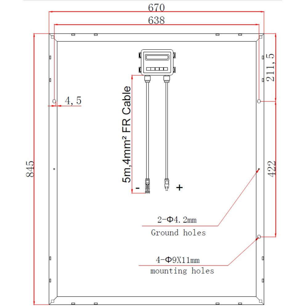 medium resolution of technical drawing of photonic universe 100w 12v solar panel with german solar cells swd 100m back