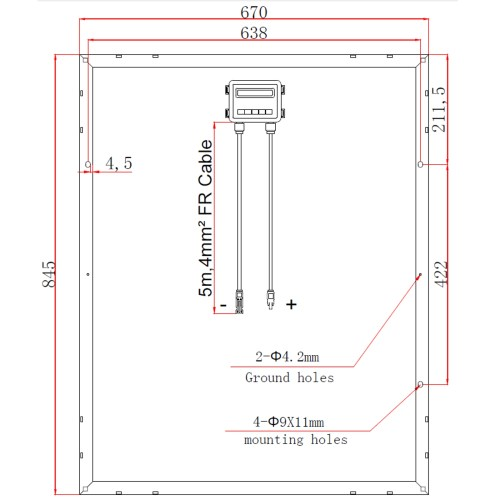 small resolution of technical drawing of photonic universe 100w 12v solar panel with german solar cells swd 100m back