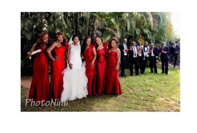 bride, bridal train, groom, groomsmen, photonimi
