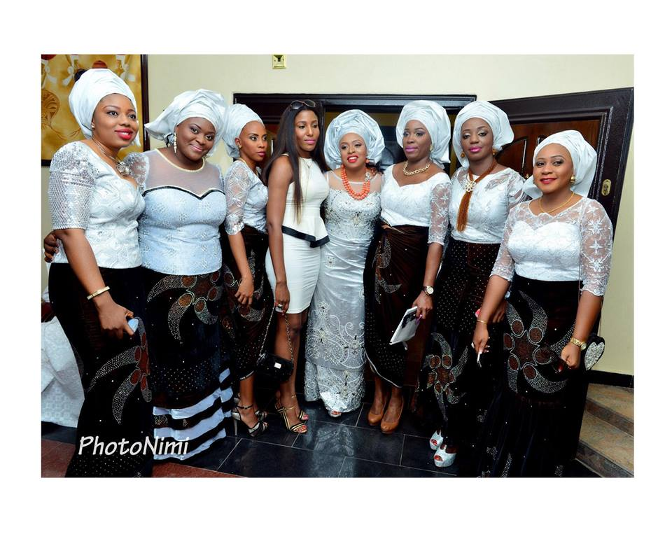 bride and friends in traditional wedding attire