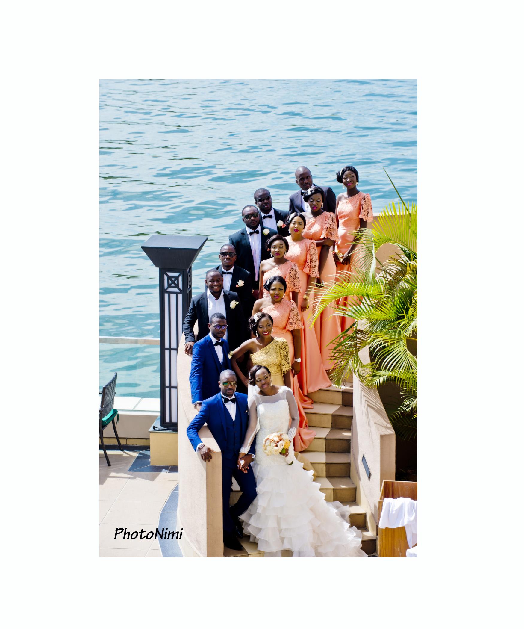 Bridegroom, Bride, Bridesmaid, Groomsmen and Bridal train