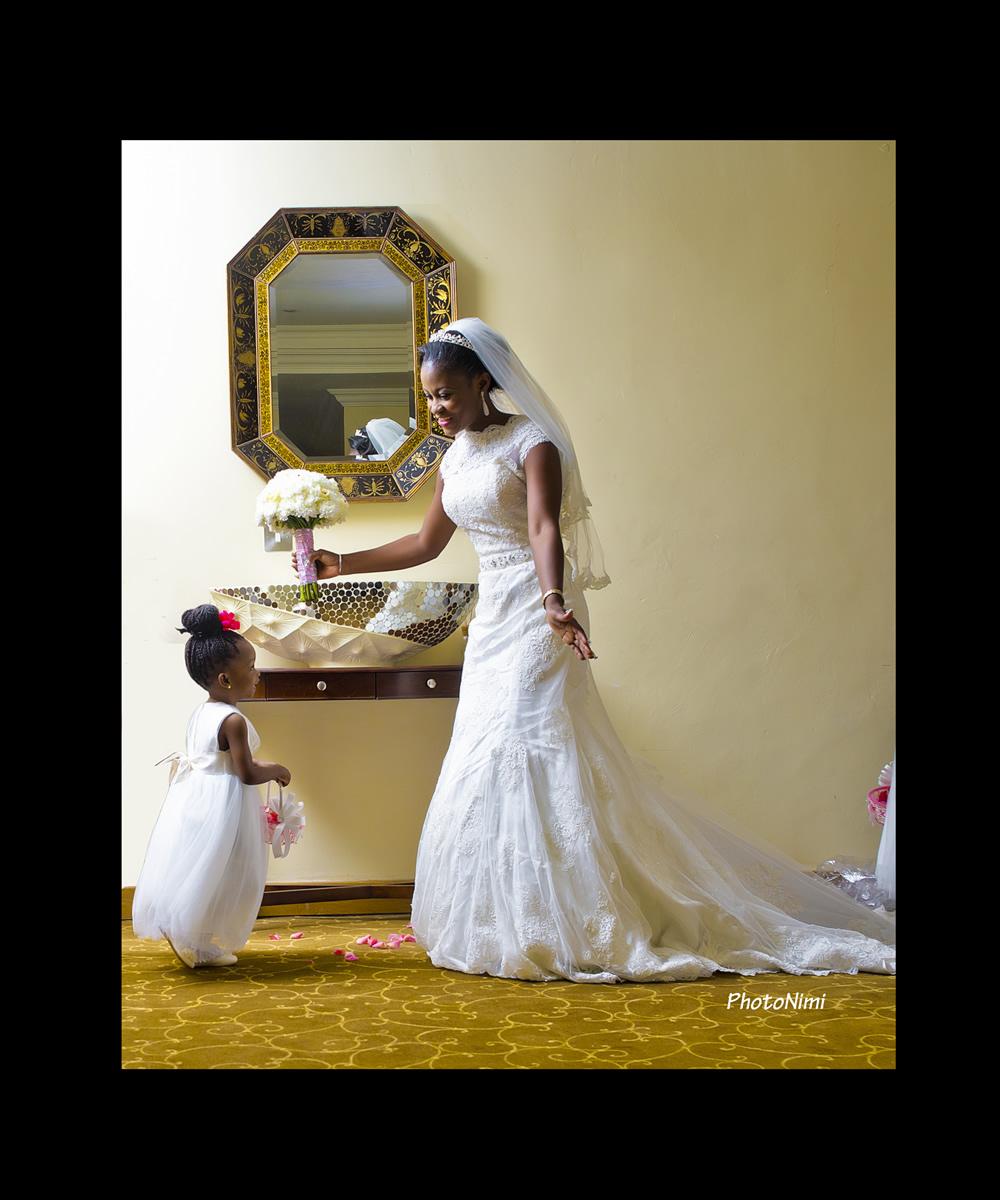 Beautiful bride & pretty flower girl