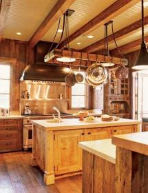 Rustic Kitchen Island Pot Rack