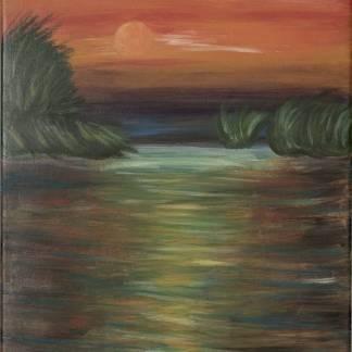 PE DUNĂRE - pictură, acrilic pe pânză -