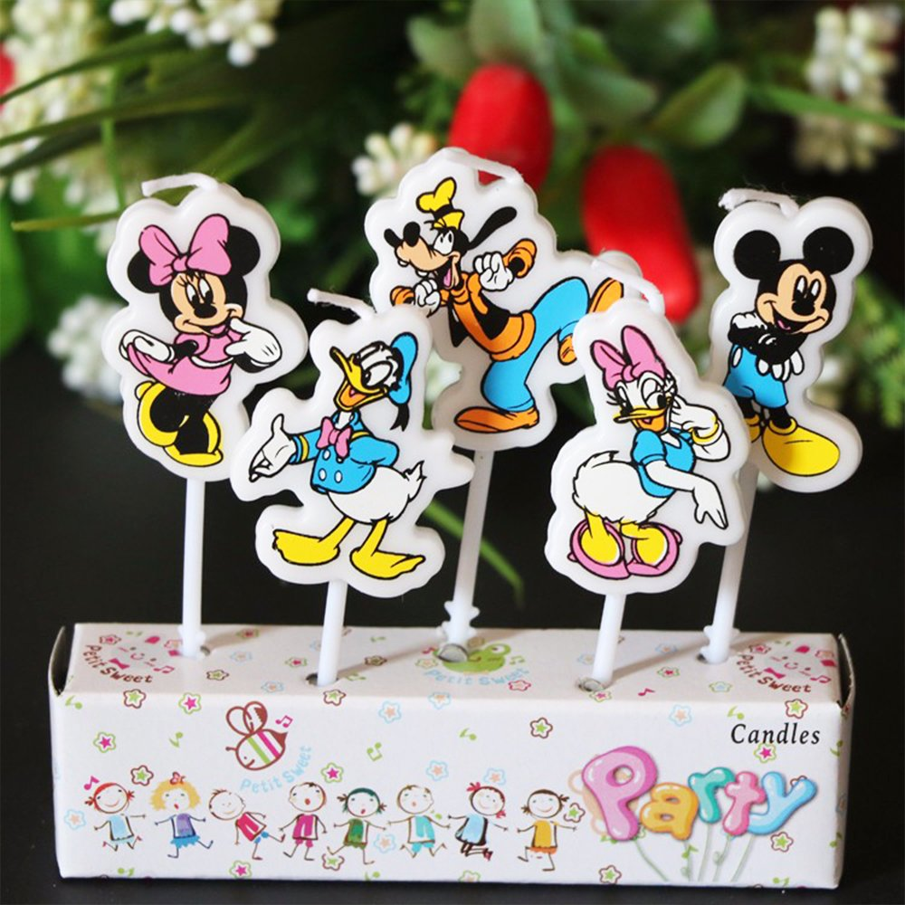 Five Disney candles, not lit