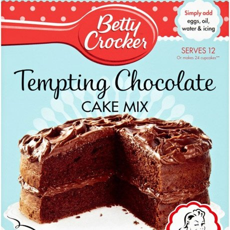 A packet of tempting chocolate cake mix.
