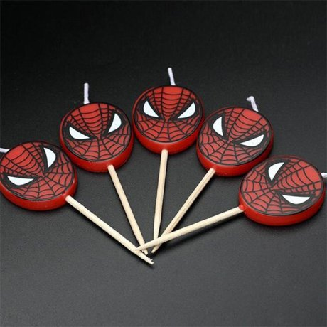 A picture of 5 Spider-man man birthday candles