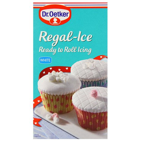 A packet of white ready to roll Regal-Ice icing.
