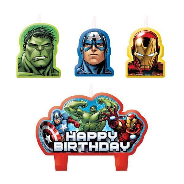 "Avengers candles with Hulk, Iron Man, Captain America and ""Happy Birthday"" cake candle"
