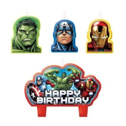"""Avengers candles with Hulk, Iron Man, Captain America and """"Happy Birthday"""" cake candle"""