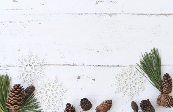 White wooden christmas winter card