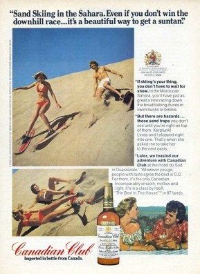 Canadian Club advertisement campaign promoting sand skiing in Morocco.