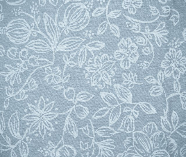 Blue Gray Fabric With Floral Pattern Texture