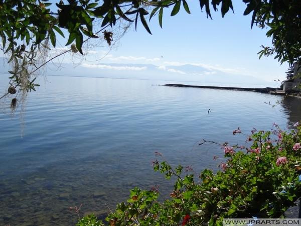 Schöne Aussicht auf See Ohrid (Mazedonien)