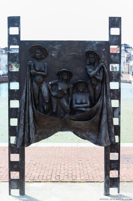 Monumento 'Filmdoek' en Assen, Países Bajos